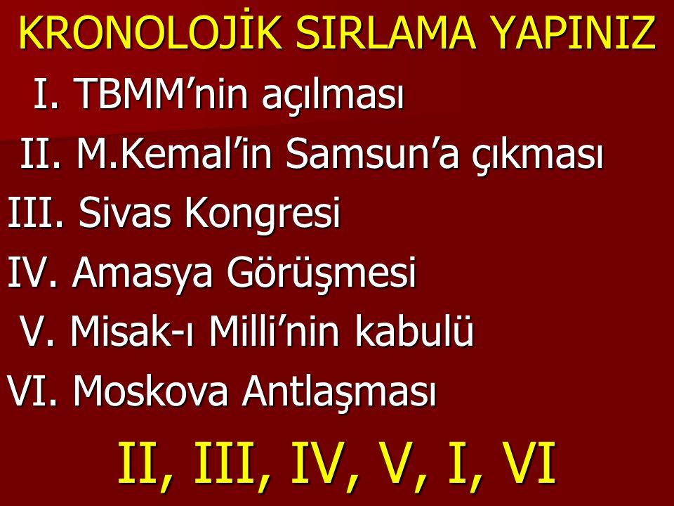 KRONOLOJİK SIRLAMA YAPINIZ I. TBMM'nin açılması I. TBMM'nin açılması II. M.Kemal'in Samsun'a çıkması II. M.Kemal'in Samsun'a çıkması III. Sivas Kongre