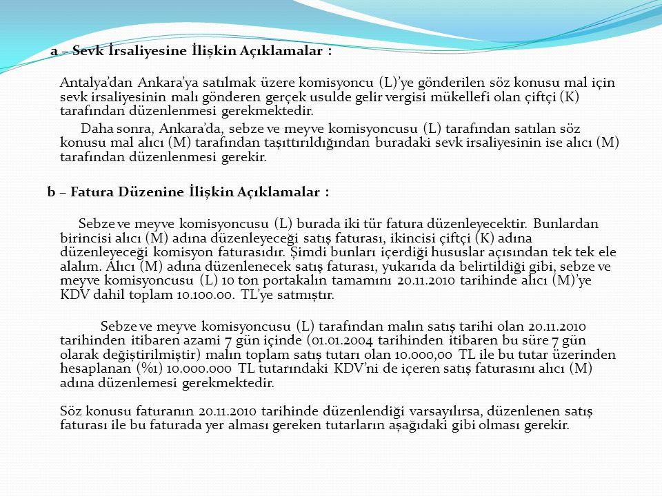 a – Sevk İrsaliyesine İlişkin Açıklamalar : Antalya'dan Ankara'ya satılmak üzere komisyoncu (L)'ye gönderilen söz konusu mal için sevk irsaliyesinin m
