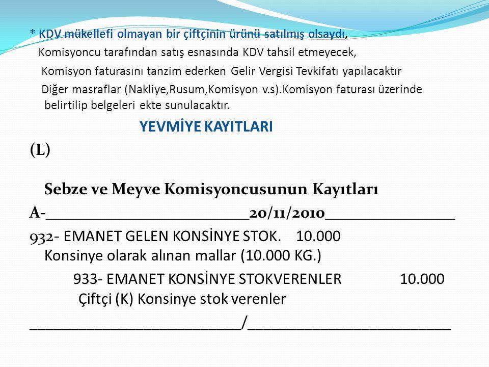 * KDV mükellefi olmayan bir çiftçinin ürünü satılmış olsaydı, Komisyoncu tarafından satış esnasında KDV tahsil etmeyecek, Komisyon faturasını tanzim e