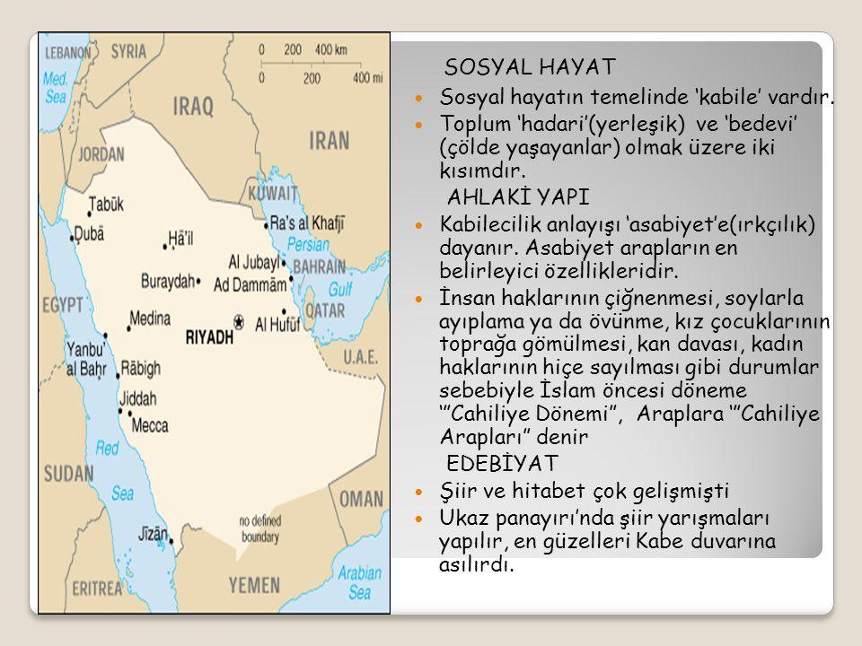 """İSLAM ÖNCESİ ARAP YARIMADASI SİYASİ DURUM: ' Kabilecilik' düzeni doğrultusunda """"şehir devlet yönetimi"""" ve """" feodal düzen"""" (Kölelik düzeni, güçlülerin"""