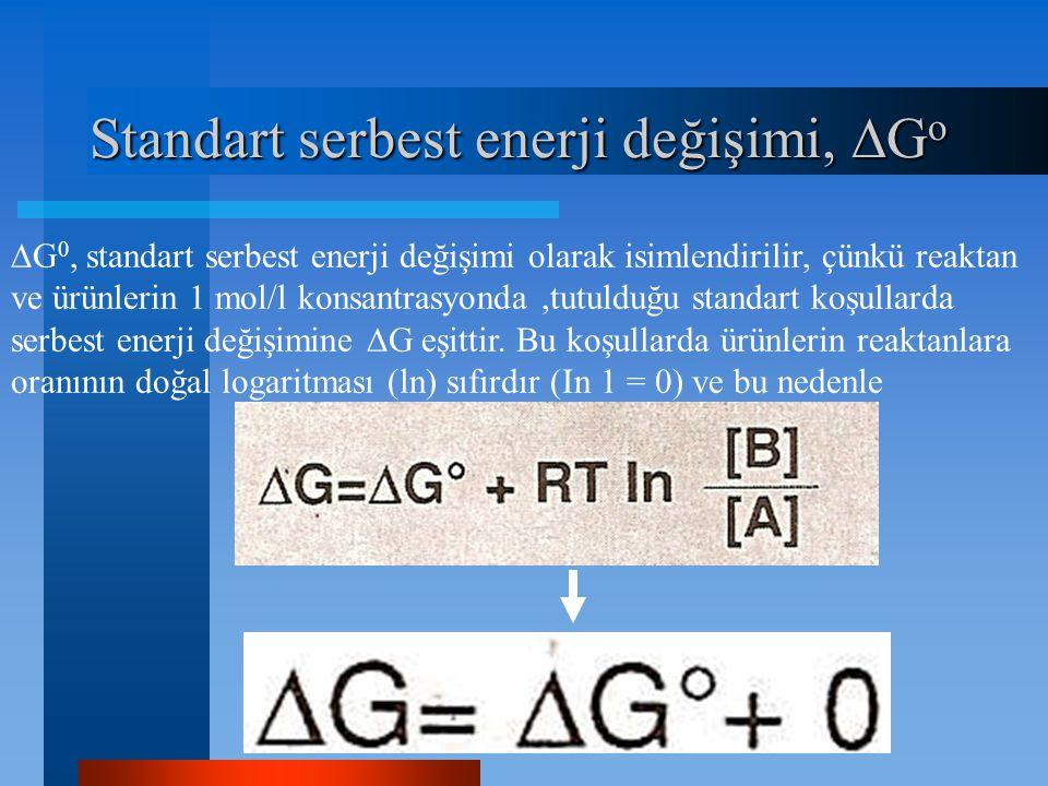 Standart serbest enerji değişimi,  G o  G 0, standart serbest enerji değişimi olarak isimlendirilir, çünkü reaktan ve ürünlerin 1 mol/l konsantrasyo