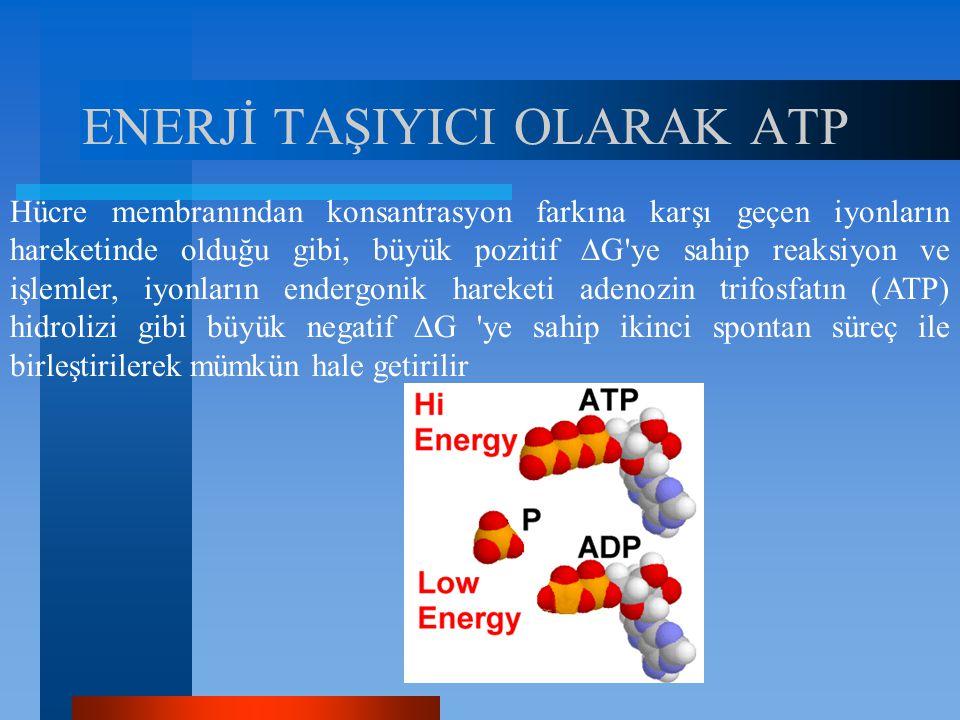 ENERJİ TAŞIYICI OLARAK ATP Hücre membranından konsantrasyon farkına karşı geçen iyonların hareketinde olduğu gibi, büyük pozitif  G'ye sahip reaksiyo