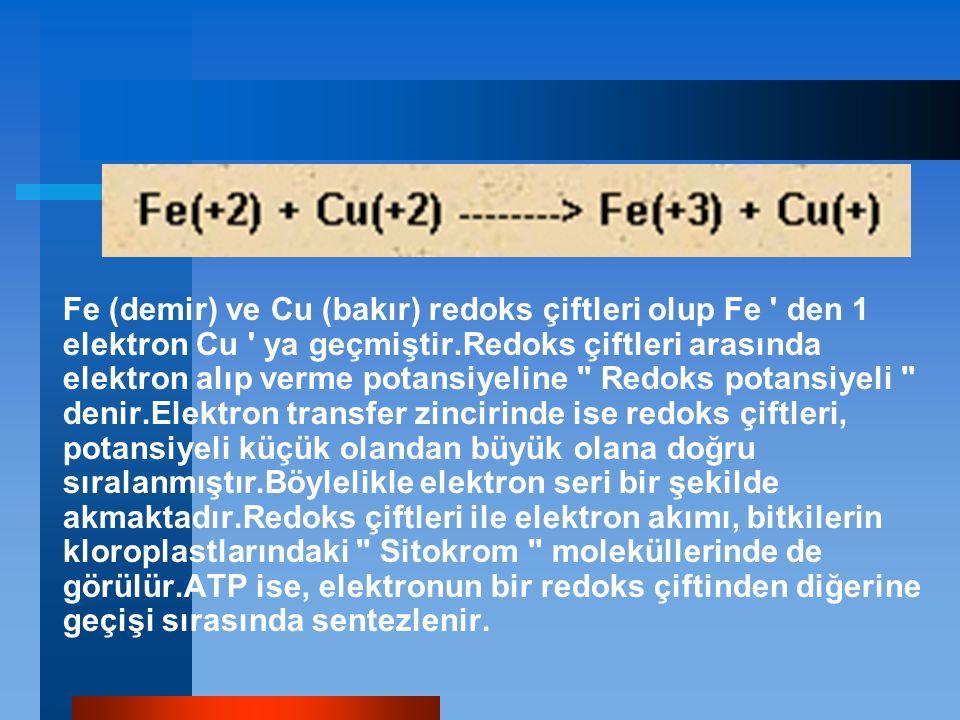 Fe (demir) ve Cu (bakır) redoks çiftleri olup Fe ' den 1 elektron Cu ' ya geçmiştir.Redoks çiftleri arasında elektron alıp verme potansiyeline