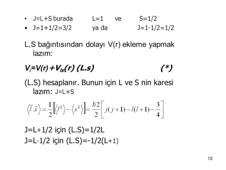 10 J=L +S burada L=1ve S=1/2 J=1+1/2=3/2 ya da J=1-1/2=1/2 L,S bağıntısından dolayı V(r) ekleme yapmak lazım: V i =V(r) +V ls (r) (L.s) (*) (L.S) hesa