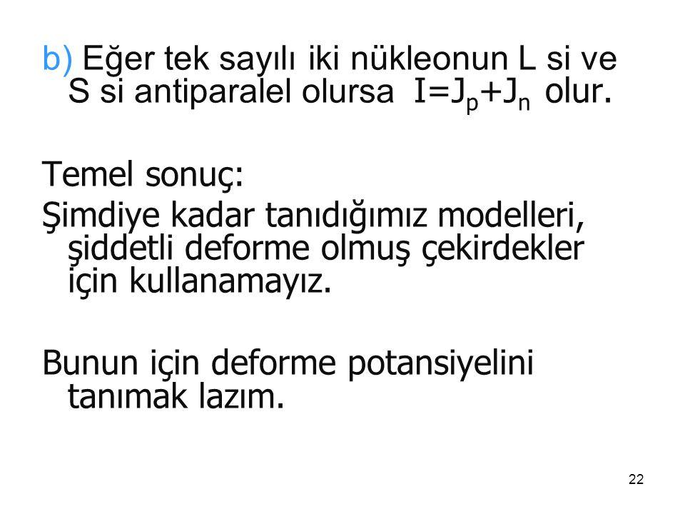 22 b) Eğer tek sayılı iki nükleonun L si ve S si antiparalel olursa I=J p +J n olur. Temel sonuç: Şimdiye kadar tanıdığımız modelleri, şiddetli deform