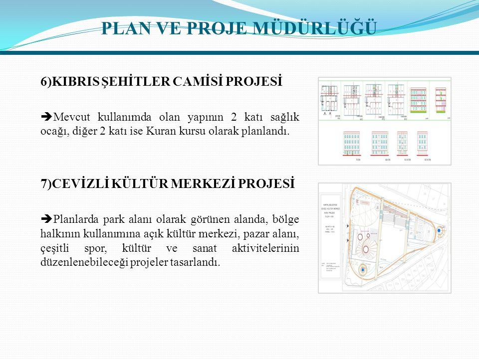 6)KIBRIS ŞEHİTLER CAMİSİ PROJESİ  Mevcut kullanımda olan yapının 2 katı sağlık ocağı, diğer 2 katı ise Kuran kursu olarak planlandı. 7)CEVİZLİ KÜLTÜR