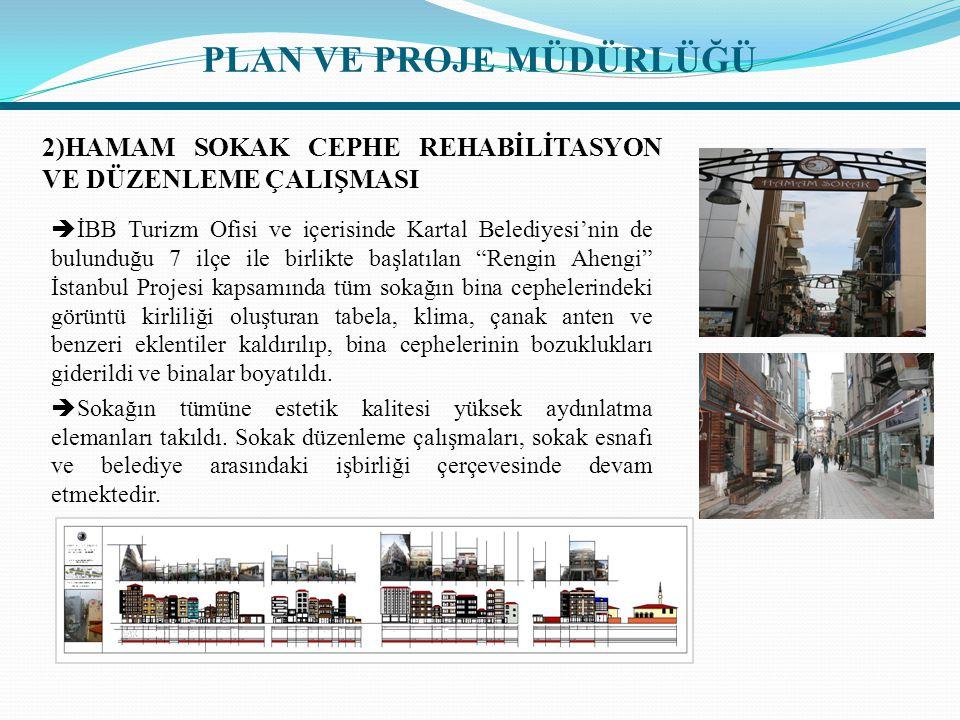 2)HAMAM SOKAK CEPHE REHABİLİTASYON VE DÜZENLEME ÇALIŞMASI  İBB Turizm Ofisi ve içerisinde Kartal Belediyesi'nin de bulunduğu 7 ilçe ile birlikte başl