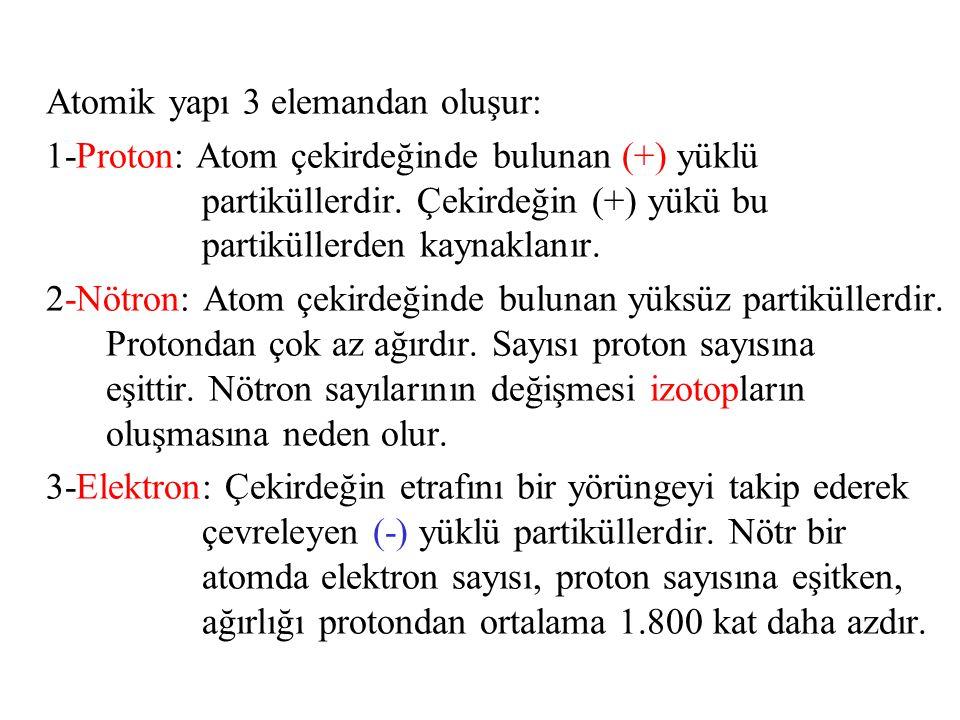 Atomik yapı 3 elemandan oluşur: 1-Proton: Atom çekirdeğinde bulunan (+) yüklü partiküllerdir. Çekirdeğin (+) yükü bu partiküllerden kaynaklanır. 2-Nöt