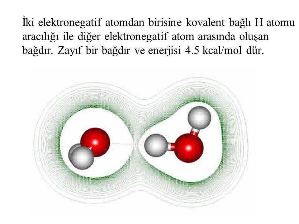 İki elektronegatif atomdan birisine kovalent bağlı H atomu aracılığı ile diğer elektronegatif atom arasında oluşan bağdır. Zayıf bir bağdır ve enerjis