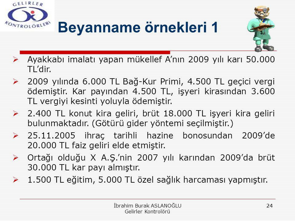 24 Beyanname örnekleri 1 İbrahim Burak ASLANOĞLU Gelirler Kontrolörü  Ayakkabı imalatı yapan mükellef A'nın 2009 yılı karı 50.000 TL'dir.  2009 yılı