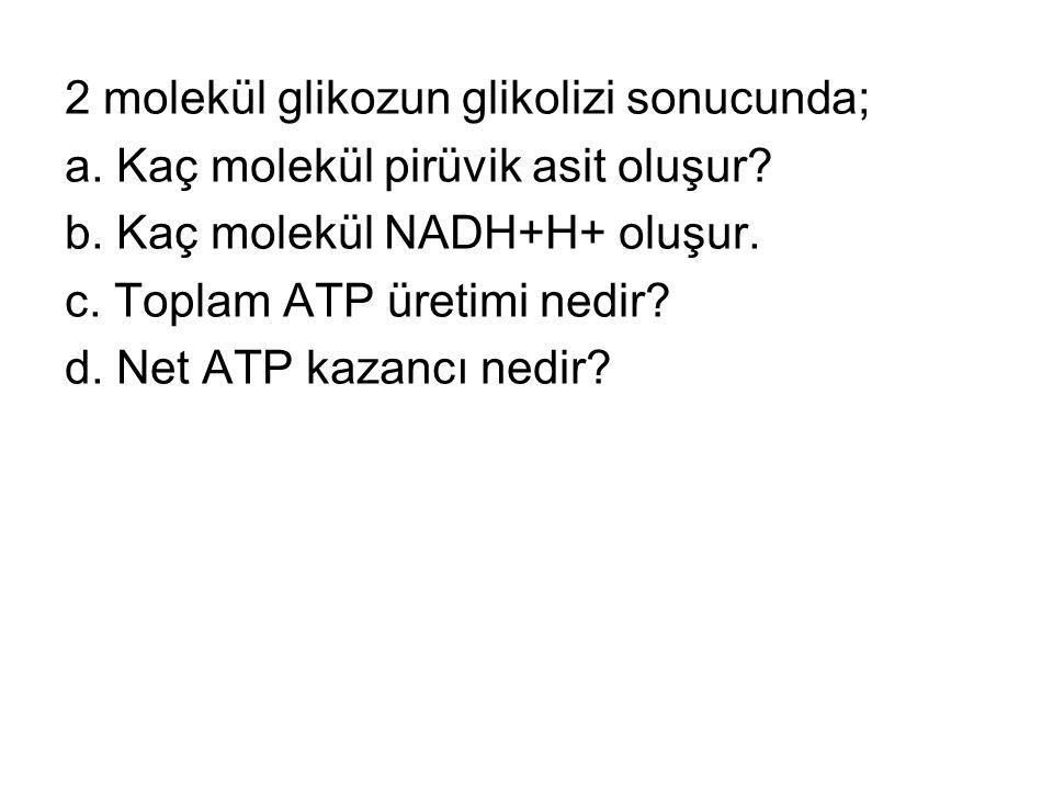 2 molekül glikozun glikolizi sonucunda; a. Kaç molekül pirüvik asit oluşur? b. Kaç molekül NADH+H+ oluşur. c. Toplam ATP üretimi nedir? d. Net ATP kaz