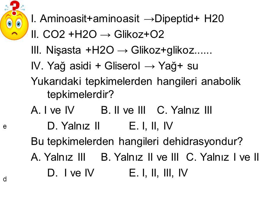 I. Aminoasit+aminoasit →Dipeptid+ H20 II. CO2 +H2O → Glikoz+O2 III. Nişasta +H2O → Glikoz+glikoz...... IV. Yağ asidi + Gliserol → Yağ+ su Yukarıdaki t