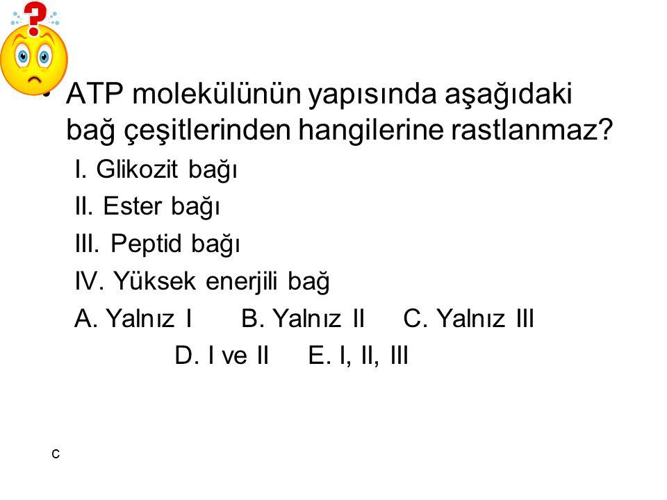 ATP molekülünün yapısında aşağıdaki bağ çeşitlerinden hangilerine rastlanmaz? I. Glikozit bağı II. Ester bağı III. Peptid bağı IV. Yüksek enerjili bağ