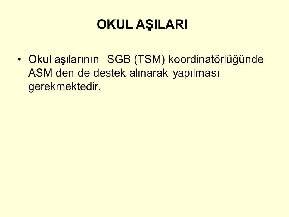Okul aşılarının SGB (TSM) koordinatörlüğünde ASM den de destek alınarak yapılması gerekmektedir. OKUL AŞILARI