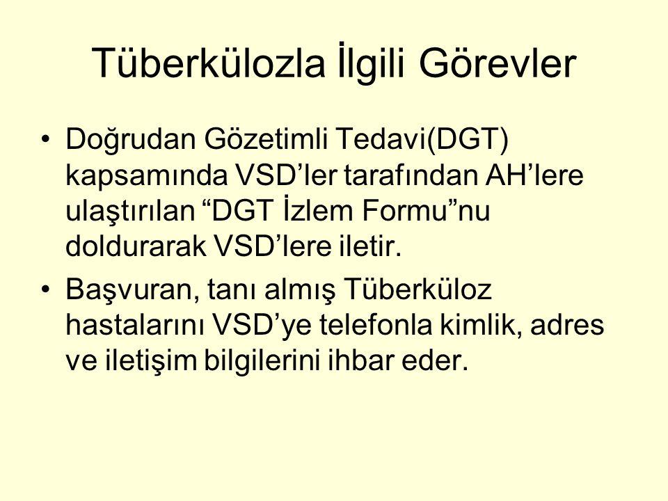 """Tüberkülozla İlgili Görevler Doğrudan Gözetimli Tedavi(DGT) kapsamında VSD'ler tarafından AH'lere ulaştırılan """"DGT İzlem Formu""""nu doldurarak VSD'lere"""