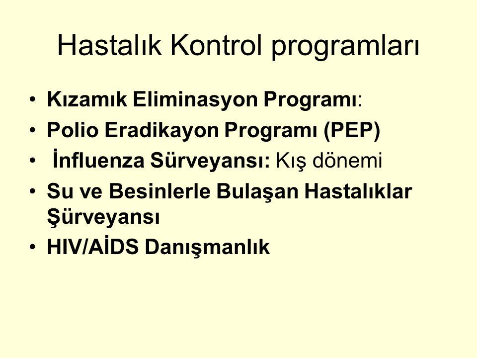 Hastalık Kontrol programları Kızamık Eliminasyon Programı: Polio Eradikayon Programı (PEP) İnfluenza Sürveyansı: Kış dönemi Su ve Besinlerle Bulaşan H