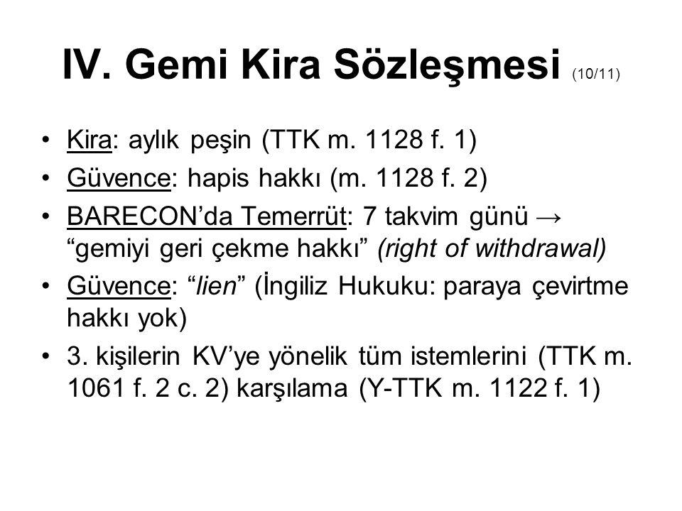 """IV. Gemi Kira Sözleşmesi (10/11) Kira: aylık peşin (TTK m. 1128 f. 1) Güvence: hapis hakkı (m. 1128 f. 2) BARECON'da Temerrüt: 7 takvim günü → """"gemiyi"""