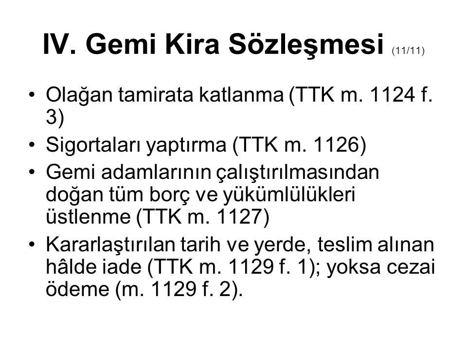 IV. Gemi Kira Sözleşmesi (11/11) Olağan tamirata katlanma (TTK m. 1124 f. 3) Sigortaları yaptırma (TTK m. 1126) Gemi adamlarının çalıştırılmasından do