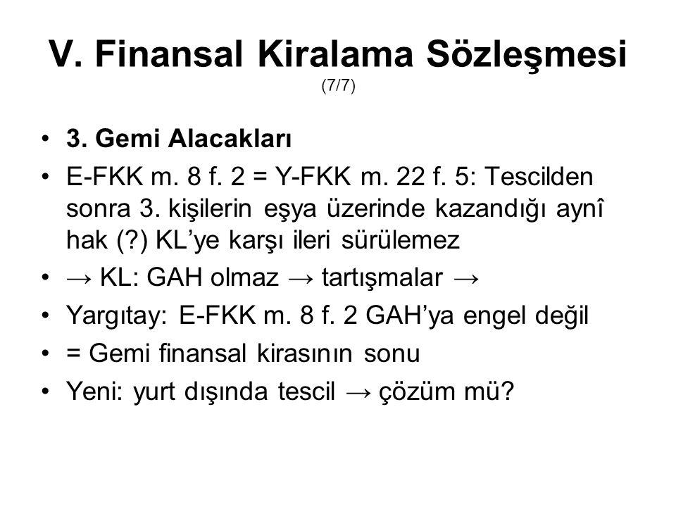V. Finansal Kiralama Sözleşmesi (7/7) 3. Gemi Alacakları E-FKK m. 8 f. 2 = Y-FKK m. 22 f. 5: Tescilden sonra 3. kişilerin eşya üzerinde kazandığı aynî