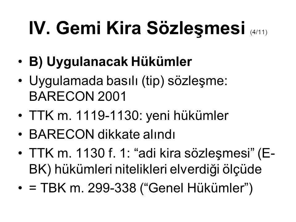 IV.Gemi Kira Sözleşmesi (5/11) C) Taraflar Kiraya Veren ( KV ) = Owners = TTK m.