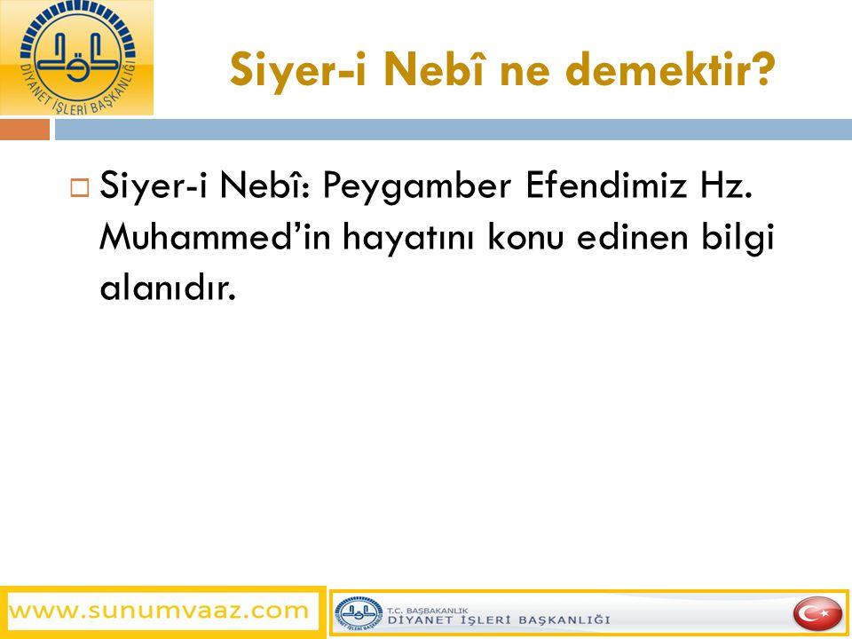 Siyer-i Nebî ne demektir?  Siyer-i Nebî: Peygamber Efendimiz Hz. Muhammed'in hayatını konu edinen bilgi alanıdır.