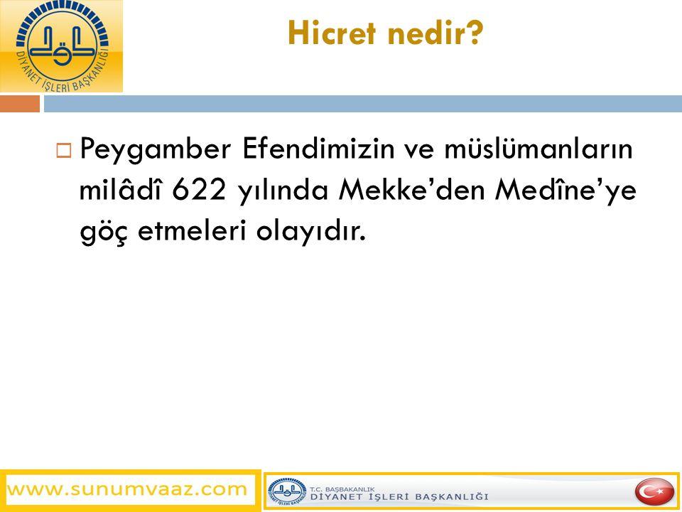 Hicret nedir?  Peygamber Efendimizin ve müslümanların milâdî 622 yılında Mekke'den Medîne'ye göç etmeleri olayıdır.