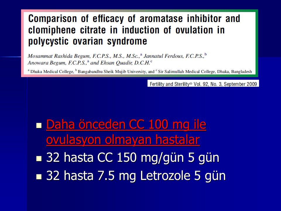 Daha önceden CC 100 mg ile ovulasyon olmayan hastalar Daha önceden CC 100 mg ile ovulasyon olmayan hastalar 32 hasta CC 150 mg/gün 5 gün 32 hasta CC 150 mg/gün 5 gün 32 hasta 7.5 mg Letrozole 5 gün 32 hasta 7.5 mg Letrozole 5 gün