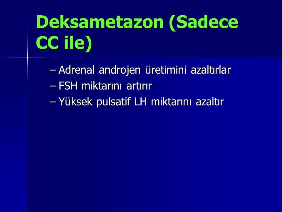 Deksametazon (Sadece CC ile) –Adrenal androjen üretimini azaltırlar –FSH miktarını artırır –Yüksek pulsatif LH miktarını azaltır