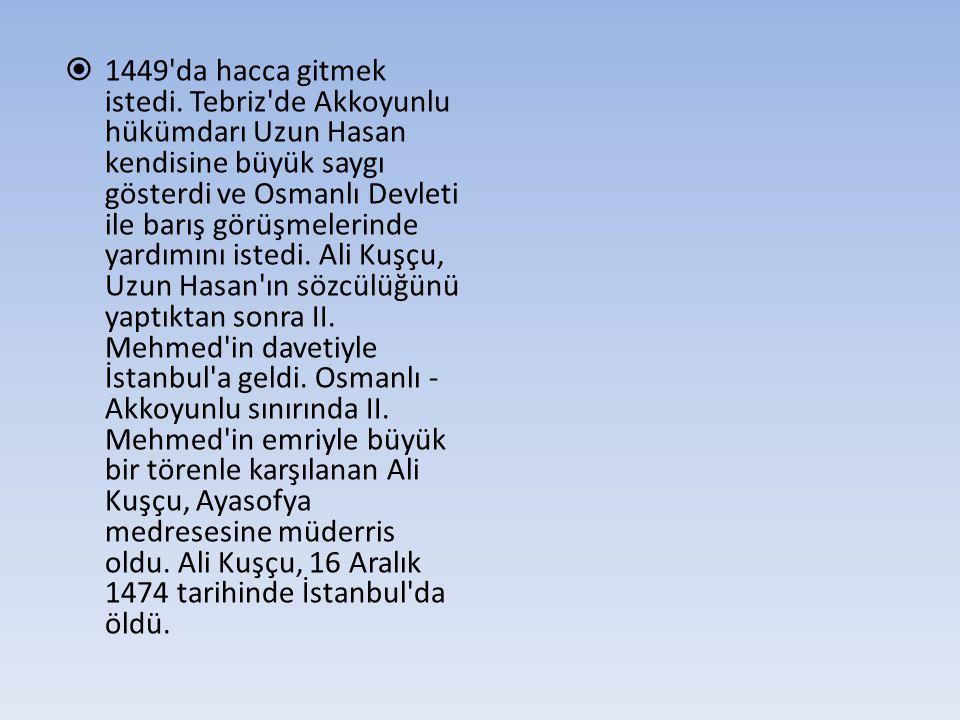  1449'da hacca gitmek istedi. Tebriz'de Akkoyunlu hükümdarı Uzun Hasan kendisine büyük saygı gösterdi ve Osmanlı Devleti ile barış görüşmelerinde yar