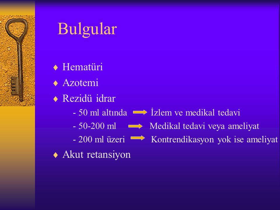 Bulgular  Hematüri  Azotemi  Rezidü idrar - 50 ml altında İzlem ve medikal tedavi - 50-200 ml Medikal tedavi veya ameliyat - 200 ml üzeri Kontrendi