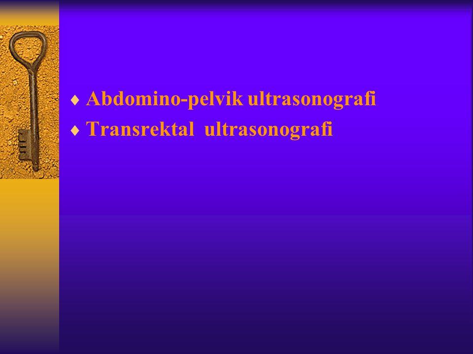  Abdomino-pelvik ultrasonografi  Transrektal ultrasonografi