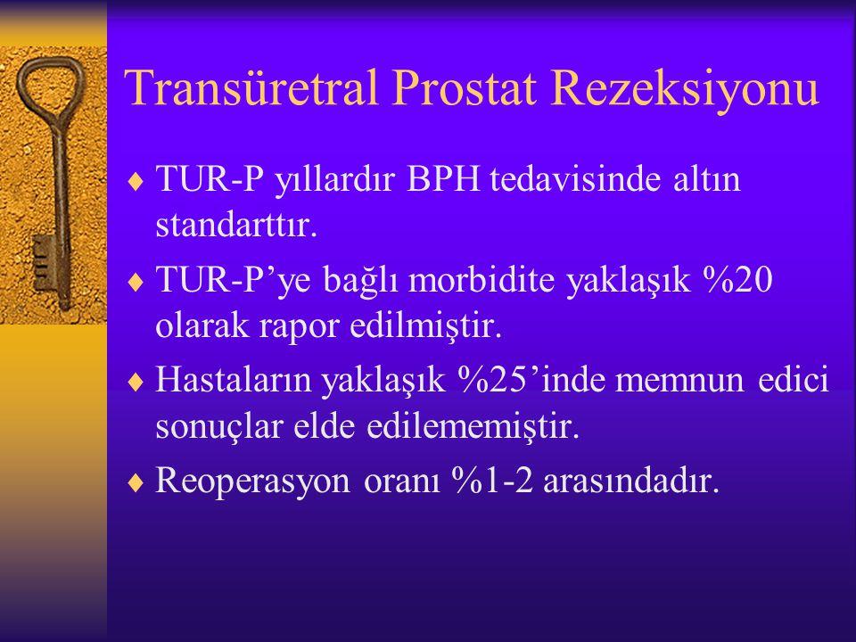 Transüretral Prostat Rezeksiyonu  TUR-P yıllardır BPH tedavisinde altın standarttır.  TUR-P'ye bağlı morbidite yaklaşık %20 olarak rapor edilmiştir.
