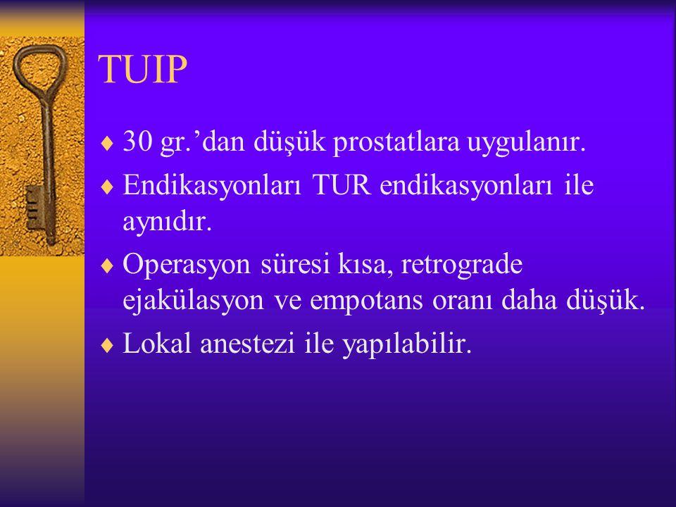 TUIP  30 gr.'dan düşük prostatlara uygulanır.  Endikasyonları TUR endikasyonları ile aynıdır.  Operasyon süresi kısa, retrograde ejakülasyon ve emp
