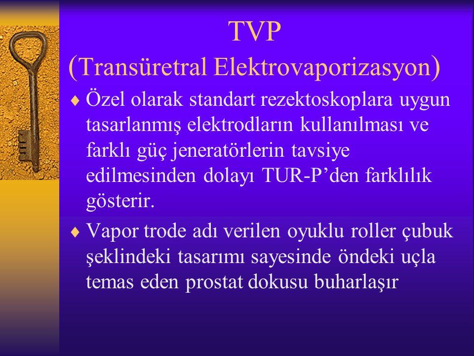 TVP ( Transüretral Elektrovaporizasyon )  Özel olarak standart rezektoskoplara uygun tasarlanmış elektrodların kullanılması ve farklı güç jeneratörle