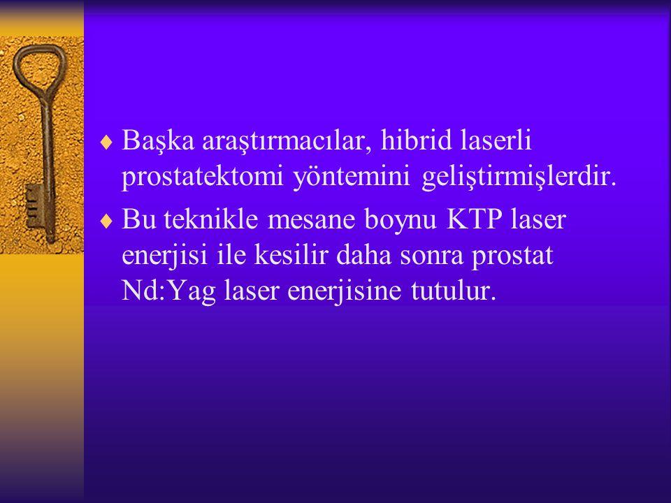  Başka araştırmacılar, hibrid laserli prostatektomi yöntemini geliştirmişlerdir.  Bu teknikle mesane boynu KTP laser enerjisi ile kesilir daha sonra