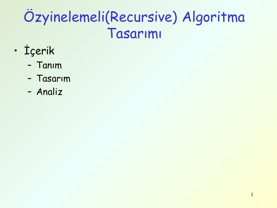 1 Özyinelemeli(Recursive) Algoritma Tasarımı İçerik –Tanım –Tasarım –Analiz