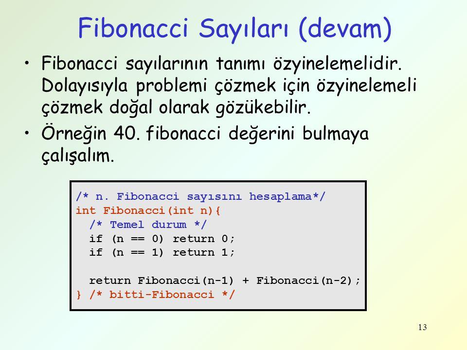 13 Fibonacci Sayıları (devam) /* n. Fibonacci sayısını hesaplama*/ int Fibonacci(int n){ /* Temel durum */ if (n == 0) return 0; if (n == 1) return 1;