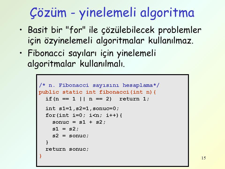 Çözüm - yinelemeli algoritma Basit bir
