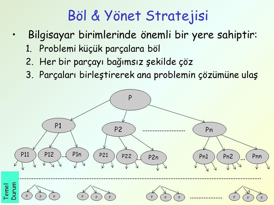 3 Böl & Yönet Stratejisi Bilgisayar birimlerinde önemli bir yere sahiptir: 1.Problemi küçük parçalara böl 2.Her bir parçayı bağımsız şekilde çöz 3.Par