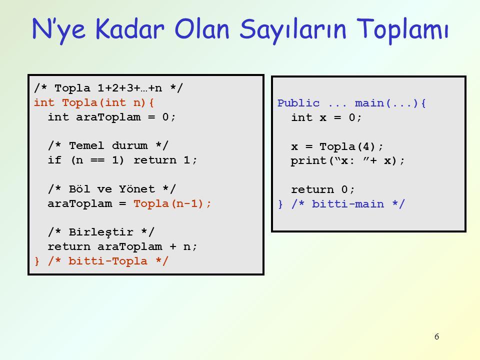 6 /* Topla 1+2+3+…+n */ int Topla(int n){ int araToplam = 0; /* Temel durum */ if (n == 1) return 1; /* Böl ve Yönet */ araToplam = Topla(n-1); /* Bir
