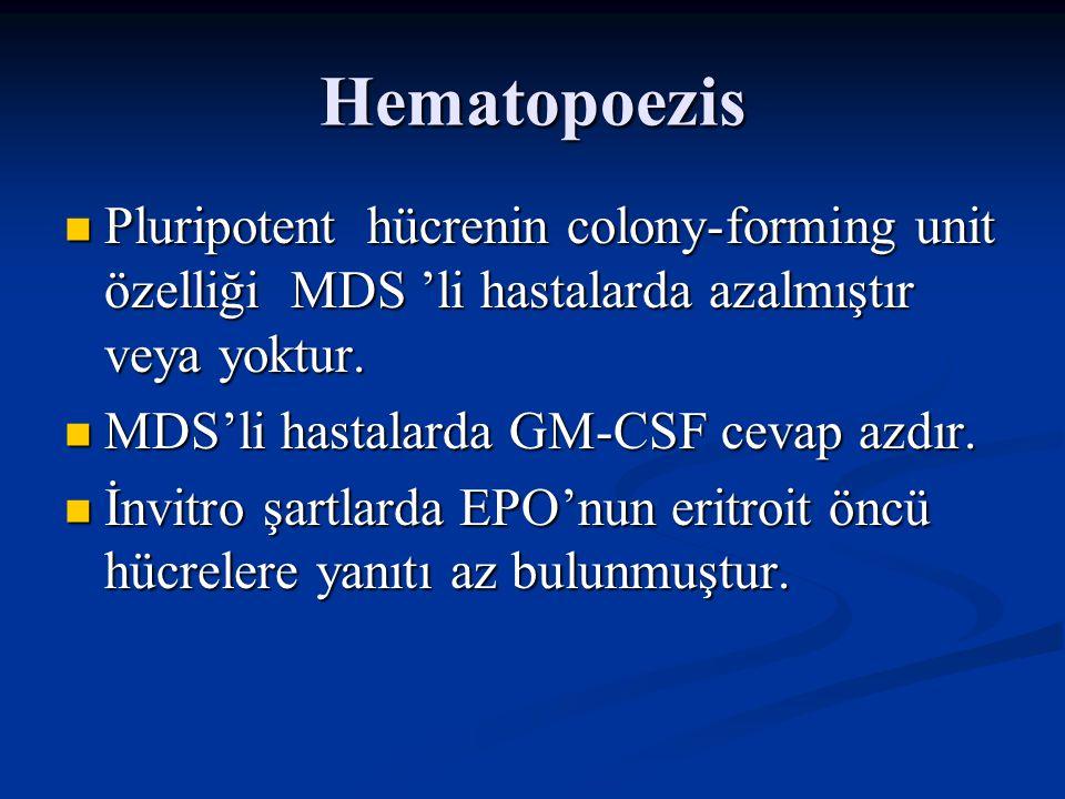 Hematopoezis Bu bulgular ışığında Bu bulgular ışığında * MDS'li hastalarda periferik kanda sitopeni izlenmektedir.