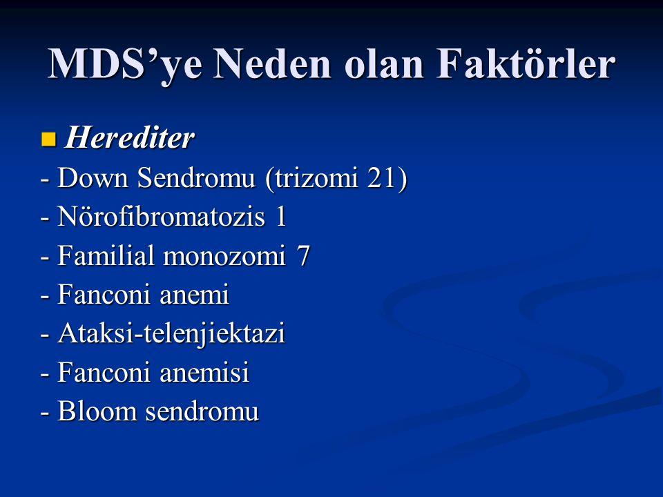 MDS'ye Neden olan Faktörler Akkiz Akkiz - Akilleyici tedavi (melfalan,siklofosfamid, klorambucil) - Topoizomeraz inhibitörleri (antrasiklinler) - Çevresel/ mesleki (benzen) - Siğara - Aplastik anemi - Otolog kemik iliği transplantasyonu