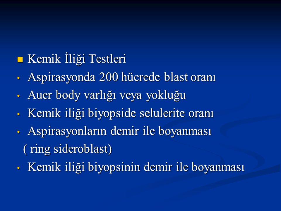 Kemik İliği Testleri Kemik İliği Testleri Displastik değişiklikler Displastik değişiklikler Sitogenetik ( 20 metafaz hücresinin incelenmesi) Sitogenetik ( 20 metafaz hücresinin incelenmesi) FİSH FİSH Flowsitometri Flowsitometri