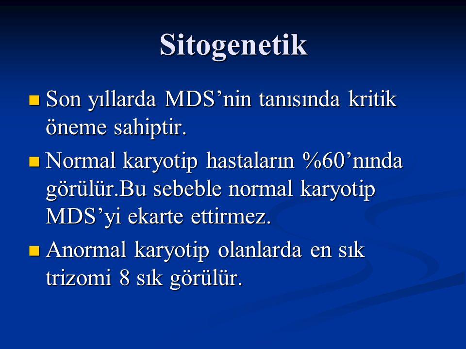 Sitogenetik En sık görülen mutasyonlar En sık görülen mutasyonlar -Monozomi 5 ya da 7 -Y kromozomun kaybı -5.,7.,11.,13.