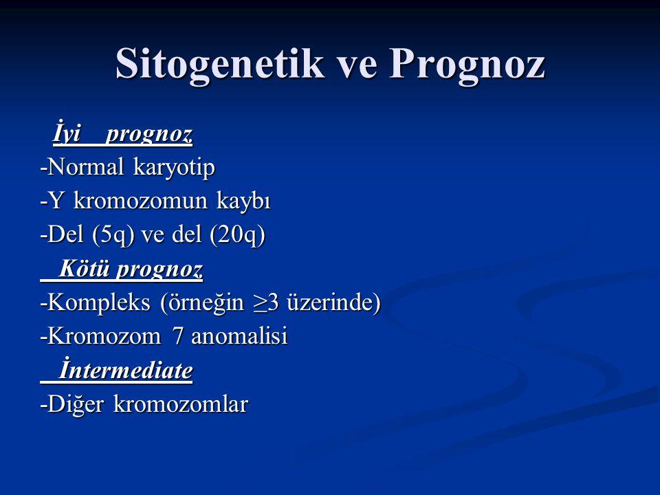 Sitogenetik ve Yaşam süresi Sitogenetik Yaşam süresi(ay) Sitogenetik Yaşam süresi(ay) Normal karyotip 53.4 Normal karyotip 53.4 del(5q) izole 80 del(5q) izole 80 Monozomi 7 14 Monozomi 7 14 Complex karyotip 8.7 Complex karyotip 8.7