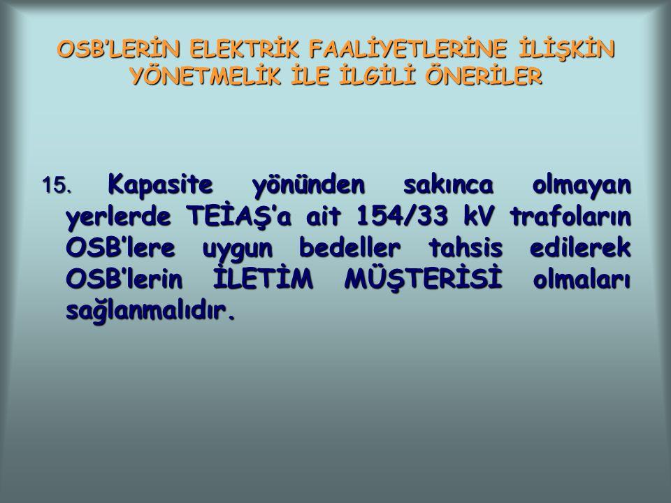 OSB'LERİN ELEKTRİK FAALİYETLERİNE İLİŞKİN YÖNETMELİK İLE İLGİLİ ÖNERİLER 15. Kapasite yönünden sakınca olmayan yerlerde TEİAŞ'a ait 154/33 kV trafolar
