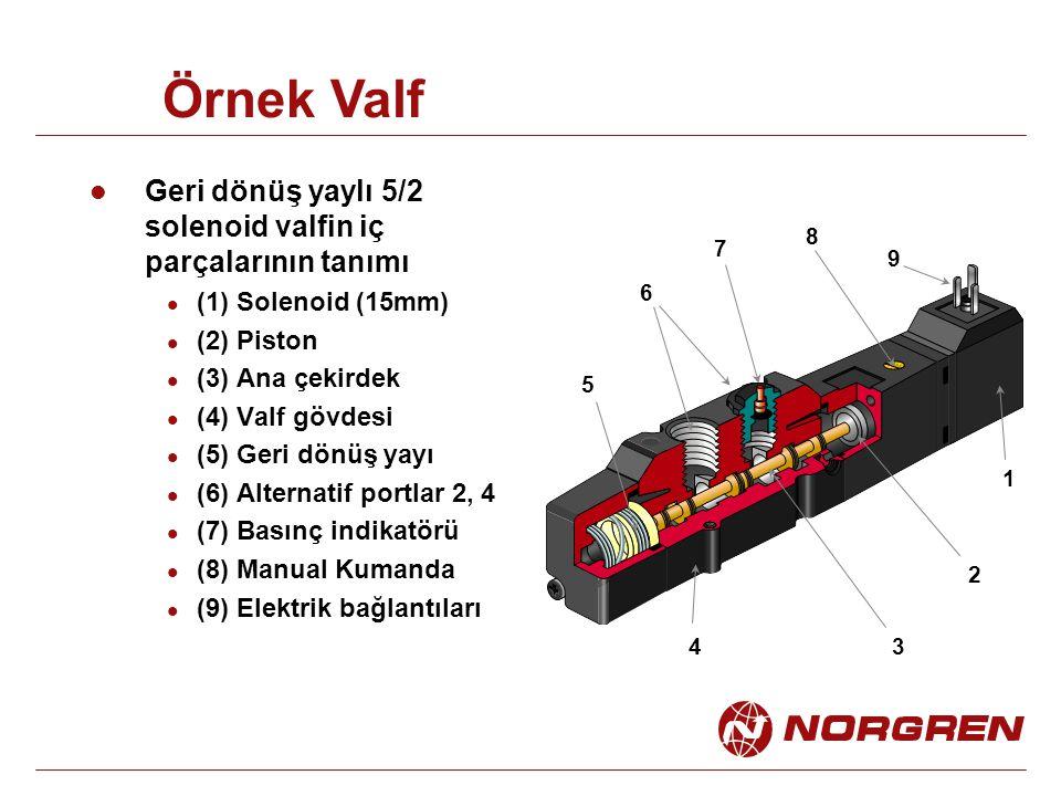 Geri dönüş yaylı 5/2 solenoid valfin iç parçalarının tanımı (1) Solenoid (15mm) (2) Piston (3) Ana çekirdek (4) Valf gövdesi (5) Geri dönüş yayı (6) Alternatif portlar 2, 4 (7) Basınç indikatörü (8) Manual Kumanda (9) Elektrik bağlantıları 34 5 6 7 8 2 1 9 Örnek Valf