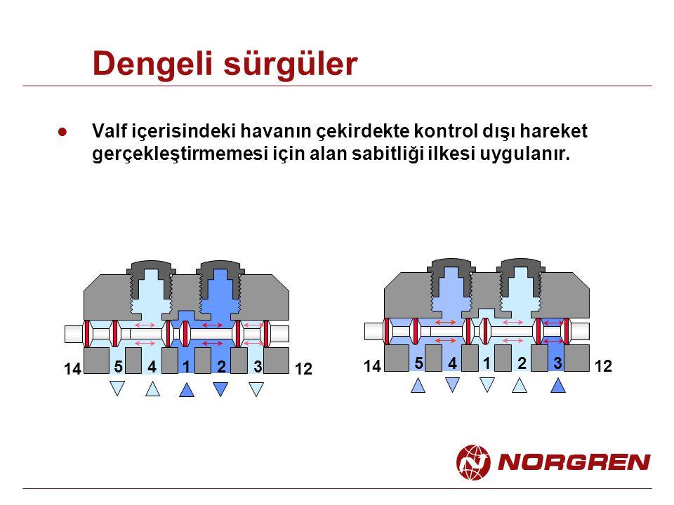 Dengeli sürgüler Valf içerisindeki havanın çekirdekte kontrol dışı hareket gerçekleştirmemesi için alan sabitliği ilkesi uygulanır. 14235 1412 1412 14