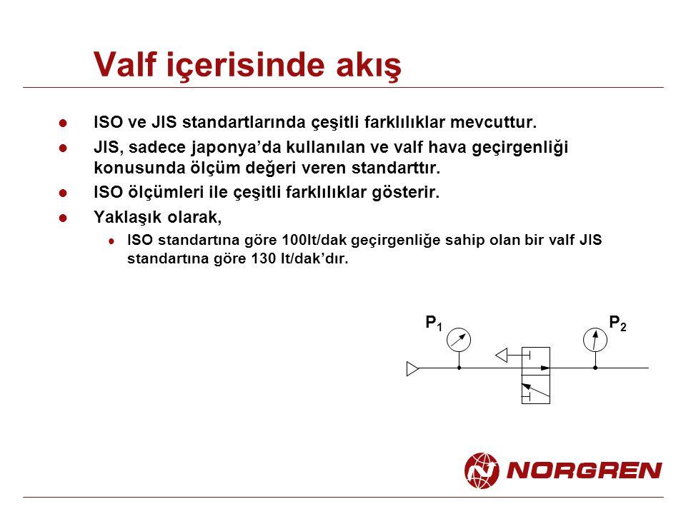 Valf içerisinde akış ISO ve JIS standartlarında çeşitli farklılıklar mevcuttur. JIS, sadece japonya'da kullanılan ve valf hava geçirgenliği konusunda
