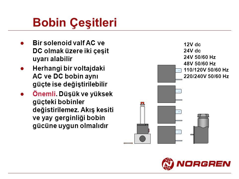 Bobin Çeşitleri Bir solenoid valf AC ve DC olmak üzere iki çeşit uyarı alabilir Herhangi bir voltajdaki AC ve DC bobin aynı güçte ise değiştirilebilir
